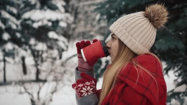 junge schöne Mädchen in warmen Kleidern stehen in der Nähe der Weihnachtsbäume im Schnee und trinken Heißgetränk aus dem Pappbecher. Zeitlupe. Porträt eines stilvollen jungen schönen Mädchens in einem Winterpark