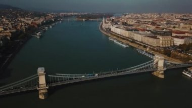 Great aerial view at beautiful Budapest, capital of Hungary, and Danube river