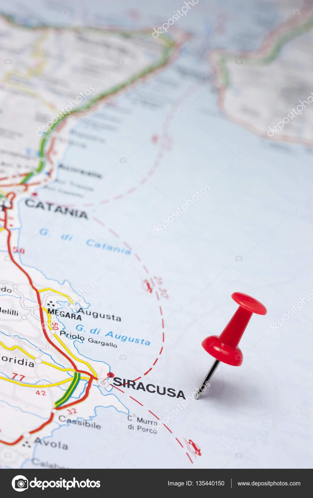 Syracuse Italy On A Map Stock Photo maior 135440150