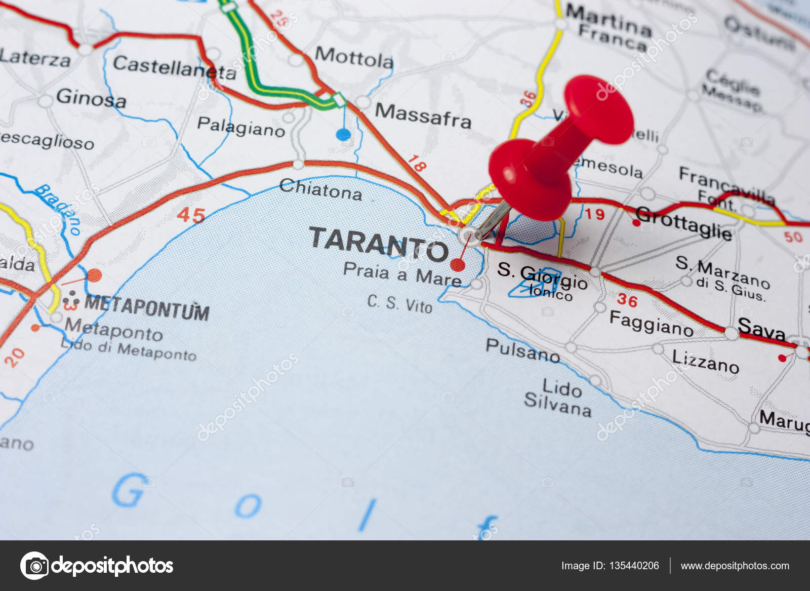 Taranto Italy On A Map Stock Photo maior 135440206