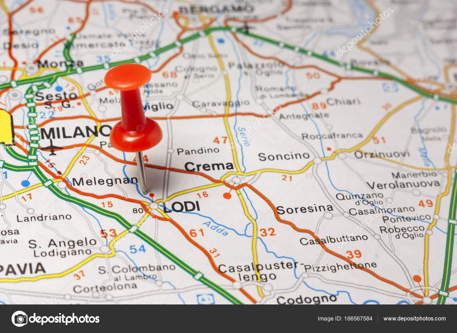 Lodi Pinned On A Map Of Italy Stock Photo C Maior 166567584
