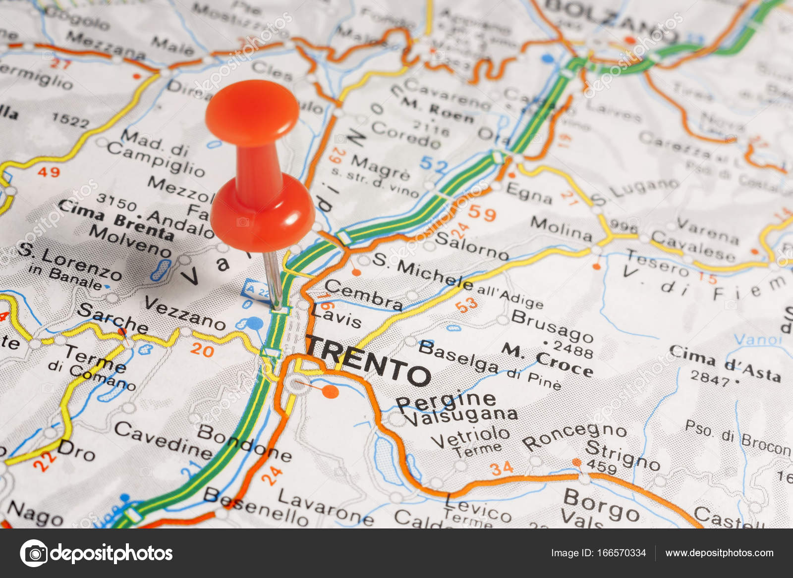 Trento pinned on a map of Italy Stock Photo maior 166570334