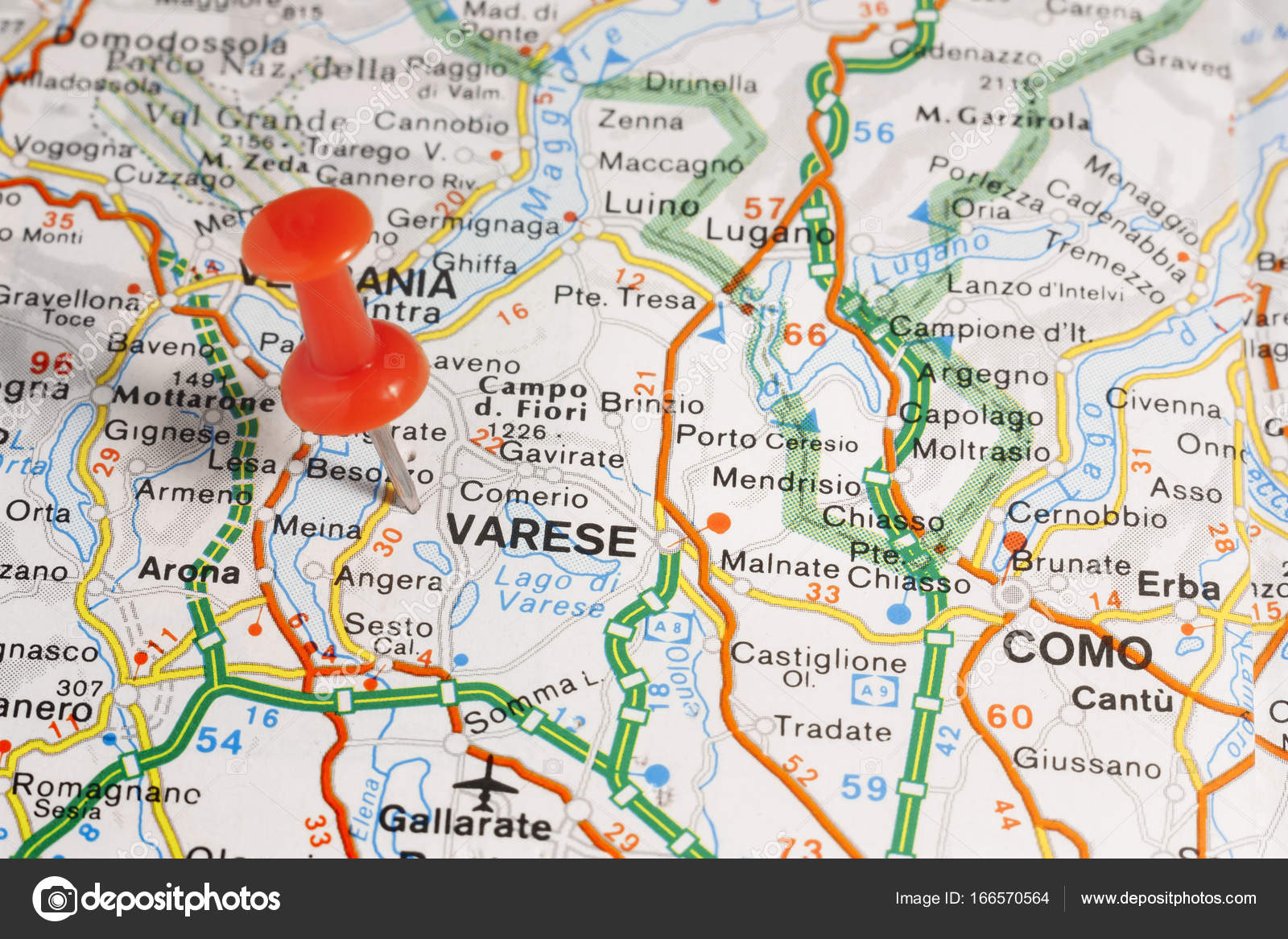 Varese pinned on a map of Italy Stock Photo maior 166570564