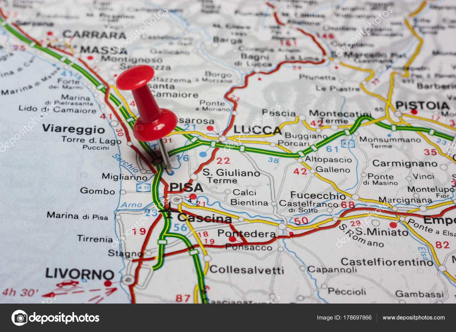 Pisa Karte.Pisa Fixiert Auf Einer Karte Von Italien Stockfoto Maior 178697866