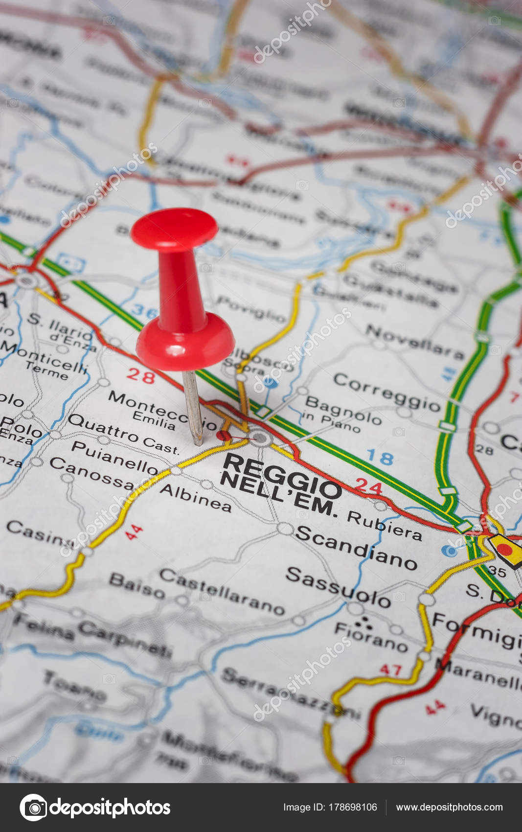 Reggio Emilia Pinned On A Map Of Italy Stock Photo C Maior 178698106
