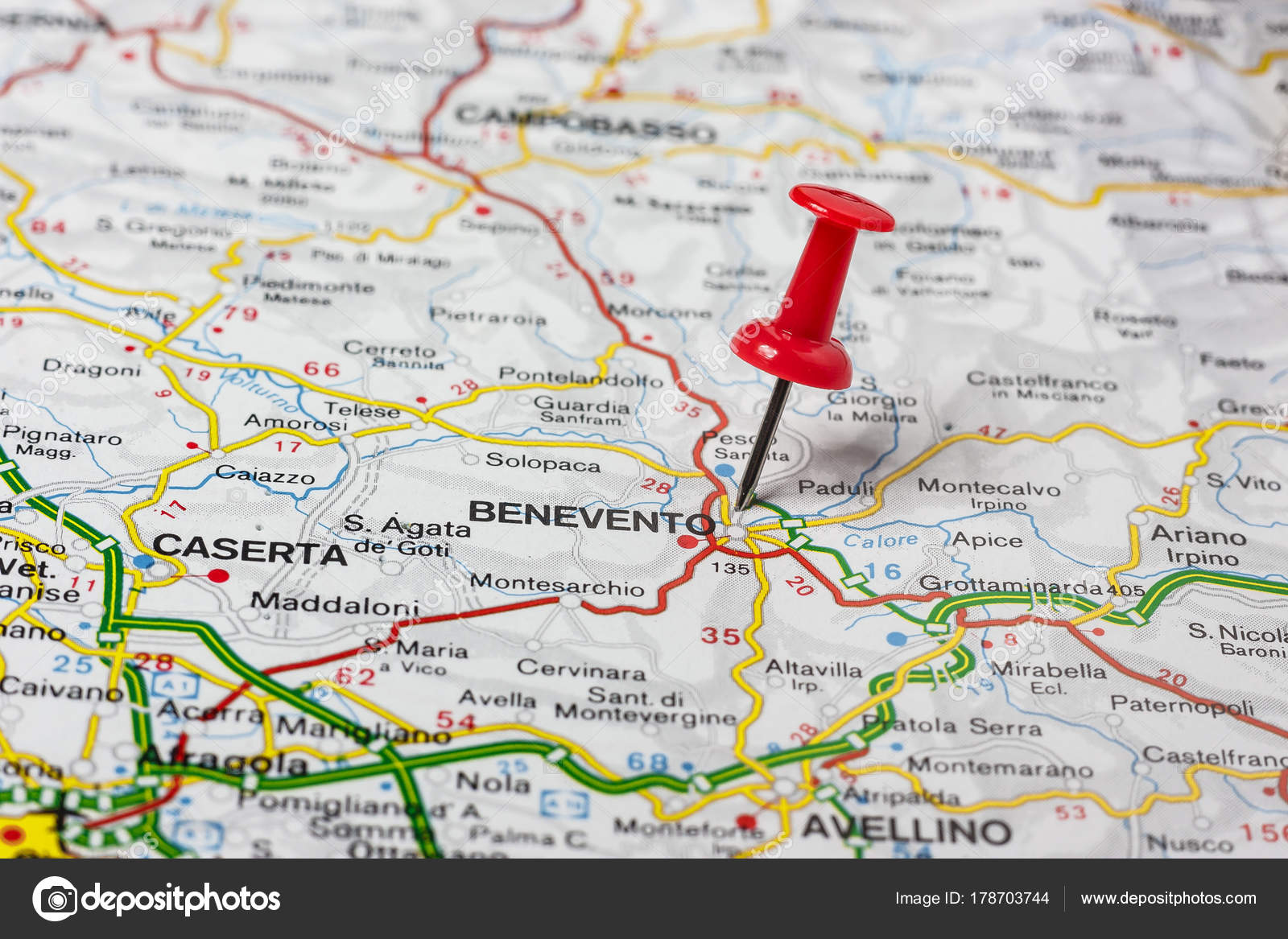 Benevento Pinned On A Map Of Italy Stock Photo C Maior 178703744