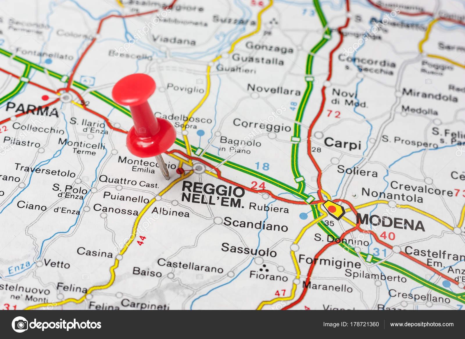 Reggio Emilia pinned on a map of Italy Stock Photo maior 178721360