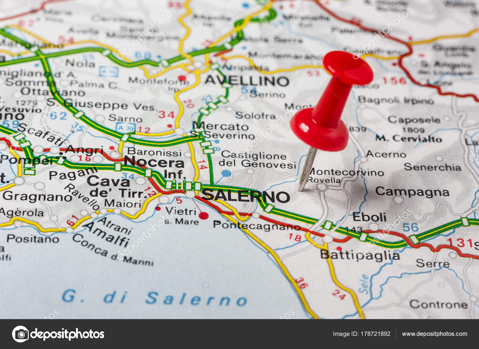 Salerno Pinned On A Map Of Italy Stock Photo C Maior 178721892
