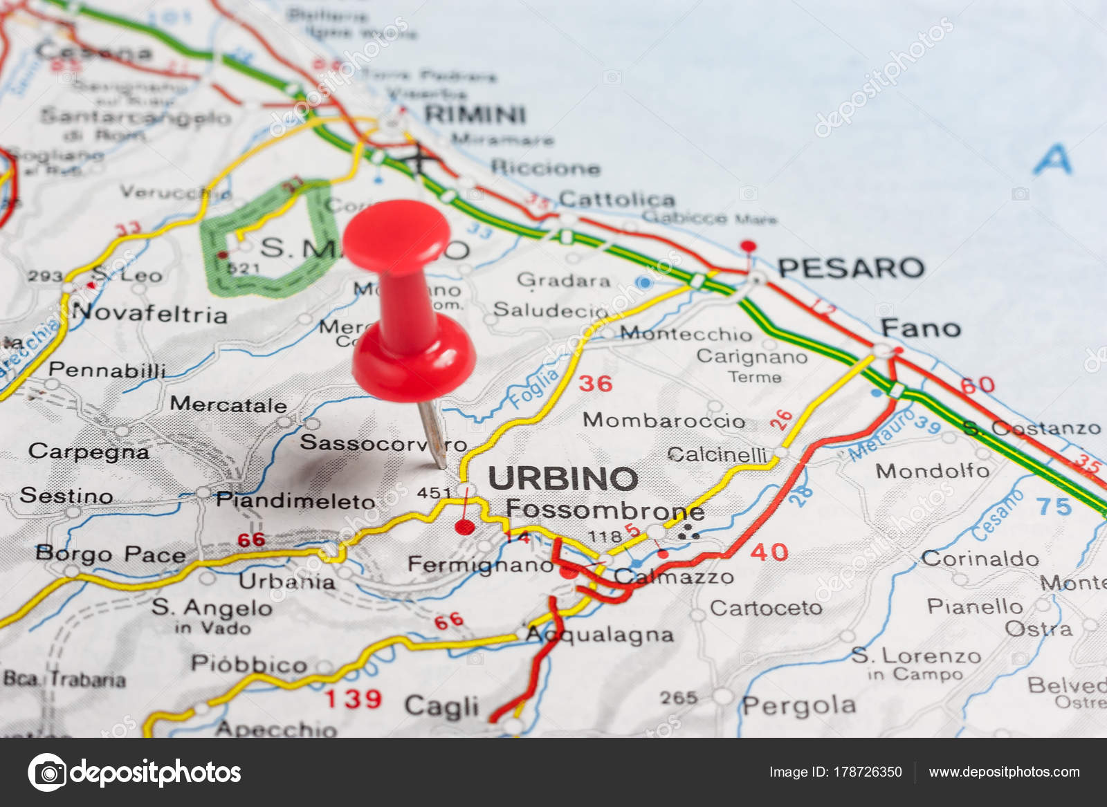 Urbino Pinned On A Map Of Italy Stock Photo C Maior 178726350