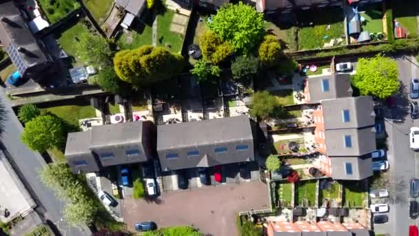 Vertical view over a small gardens in house estate in Hemsworth town in West Yorkshire England