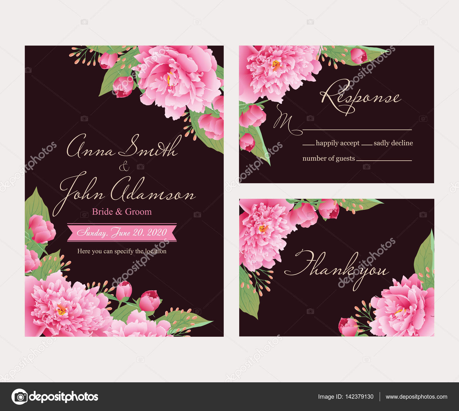 Wedding invitation thank you card save the date cards eps 10 wedding invitation thank you card save the date cardsding collection wedding designinvitation cardromantic floral peonies eps 10 vector by stopboris Image collections