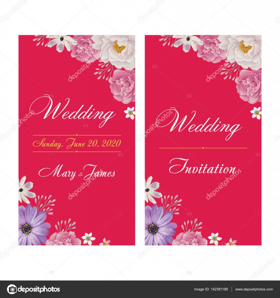 Wedding invitation, thank you card, save the date cards. EPS 10 ...