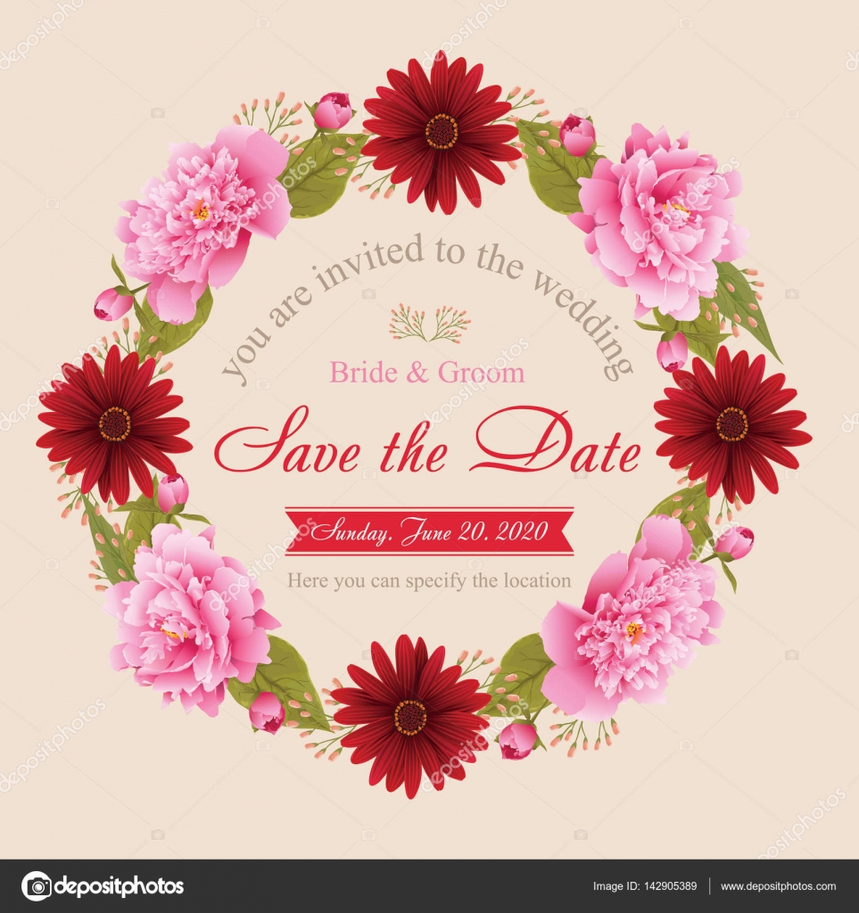 Flower wedding invitation card, save the date card, greeting card ...