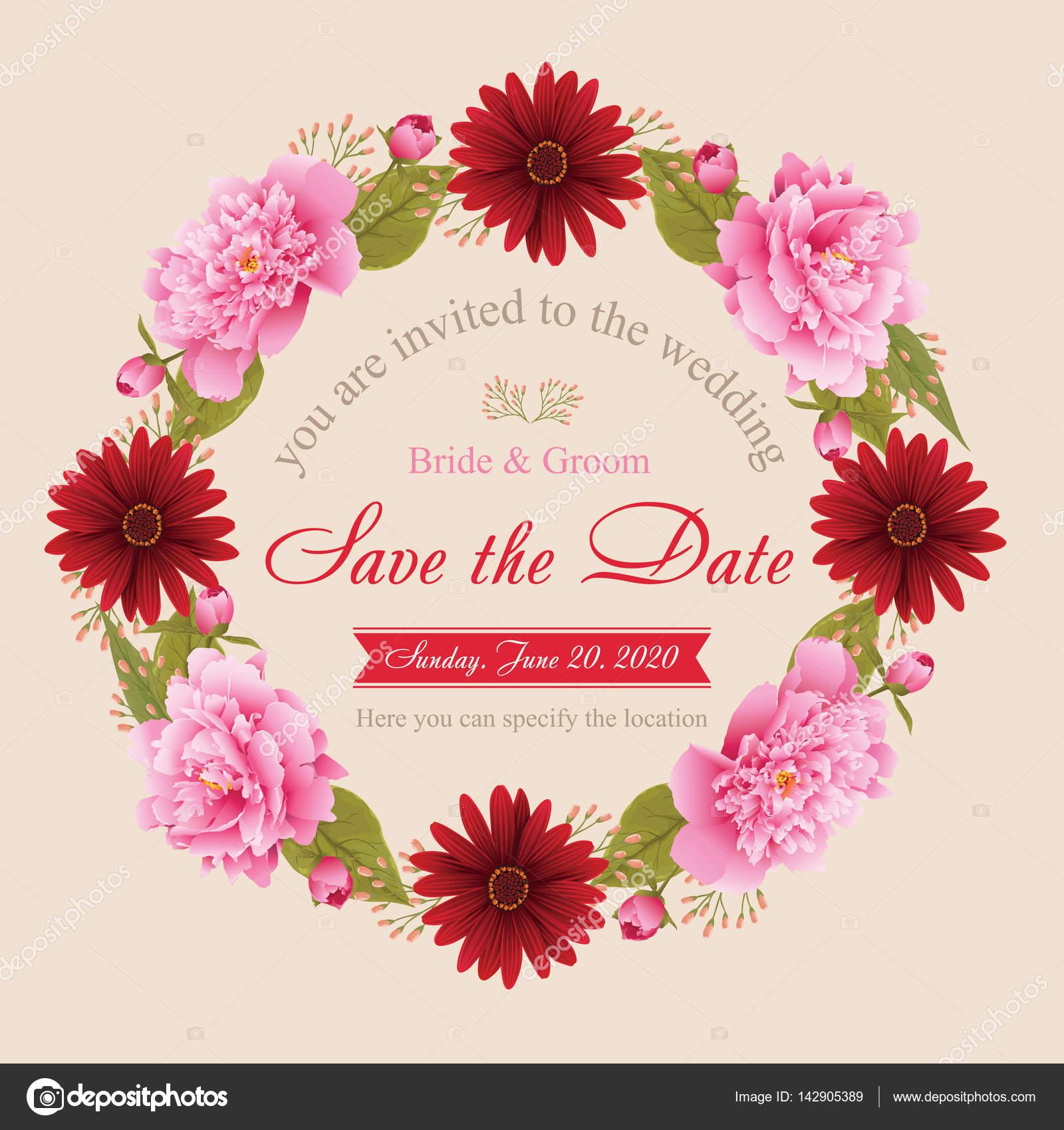 Blumen Hochzeit Einladungskarte Ausser Dem Datum Greeting Card