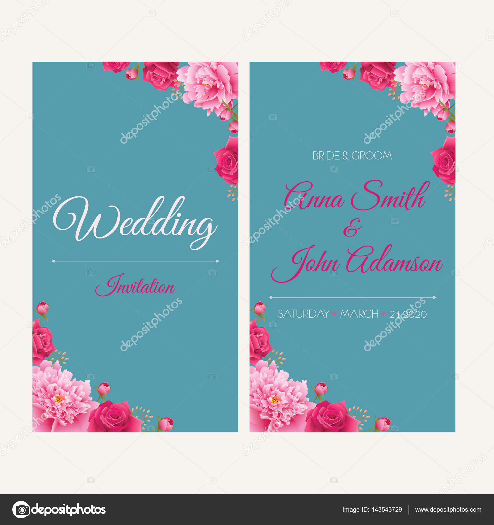 Wedding invitation thank you card save the date cards eps 10 wedding invitation thank you card save the date cardsding collectionwedding designinvitation cardromantic floral peonies and roses eps 10 stopboris Choice Image