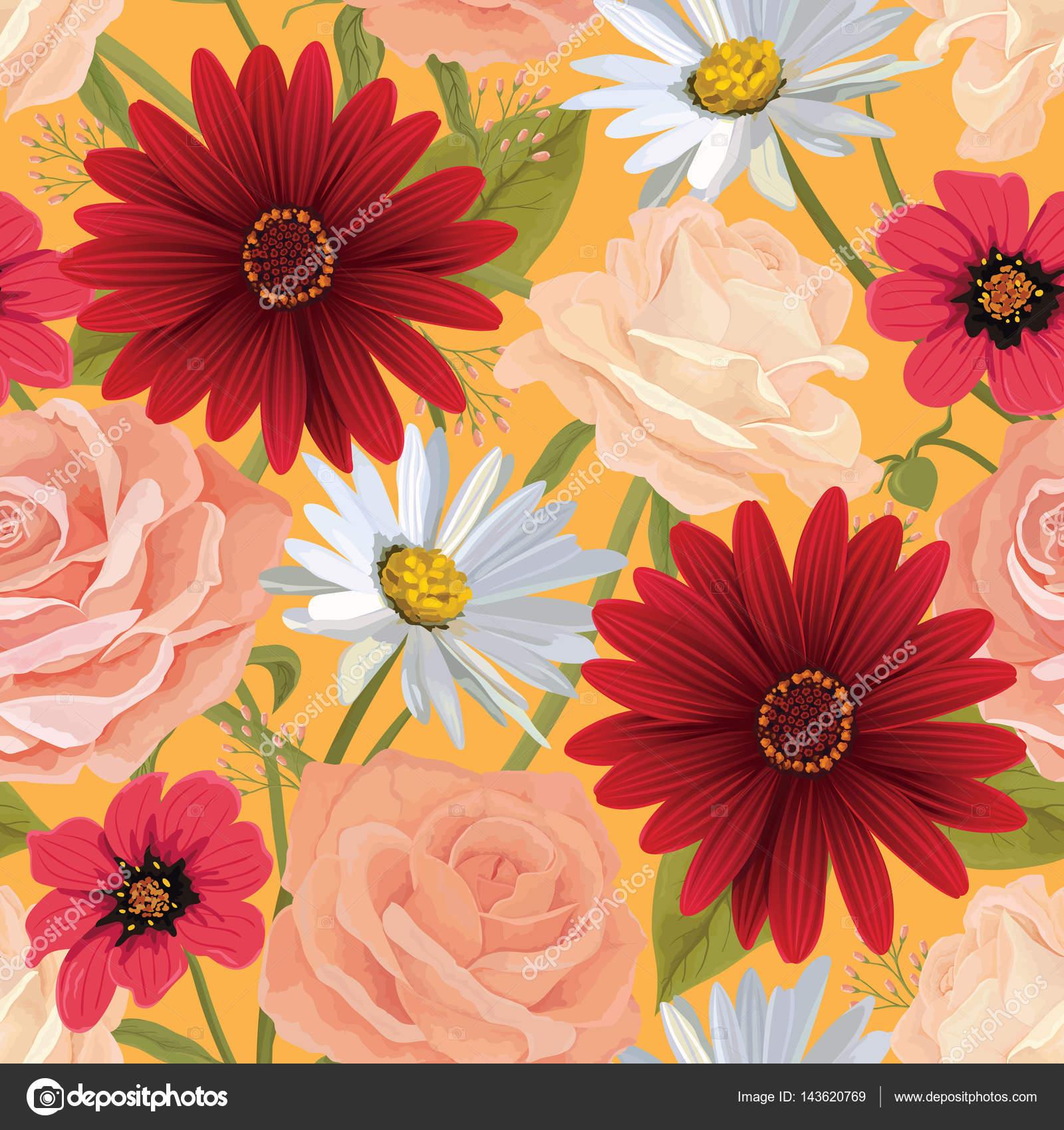 piękny kolor bezszwowe kwiatki z róż gerbera i innych kwiatów tło