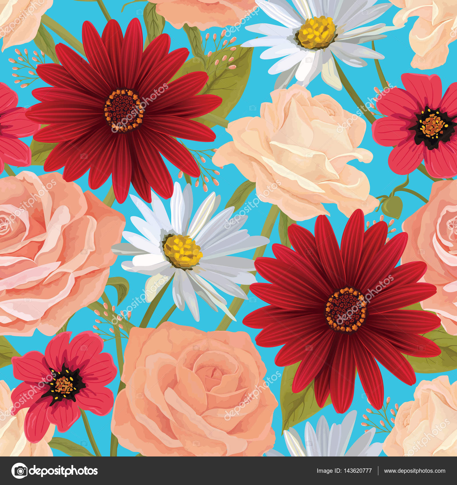 Beautiful seamless color flower pattern with roses, gerbera and ...
