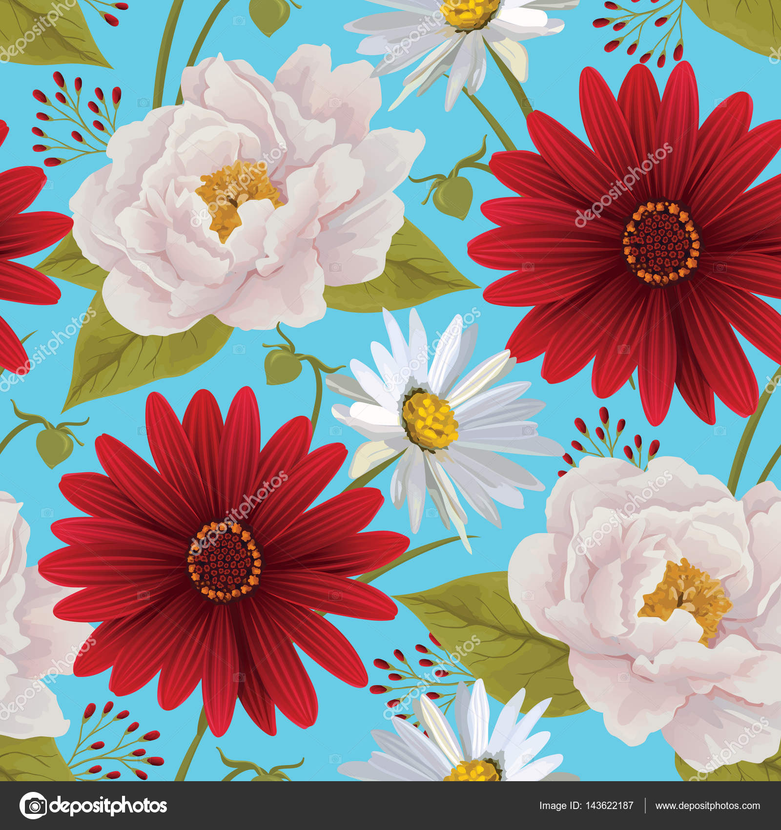Beautiful seamless color flower pattern with peony, gerbera and ...