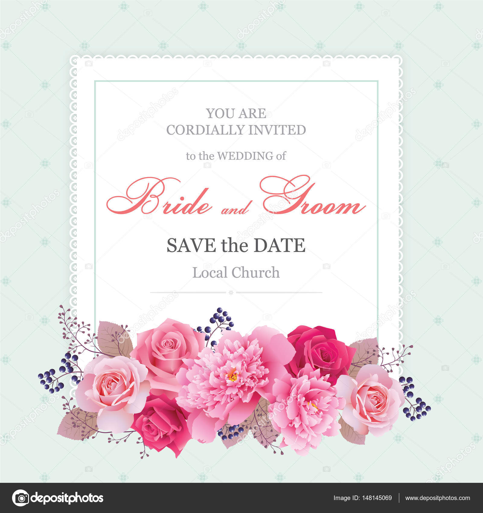 Wedding Floral Template Collection Wedding Invitation Thank You