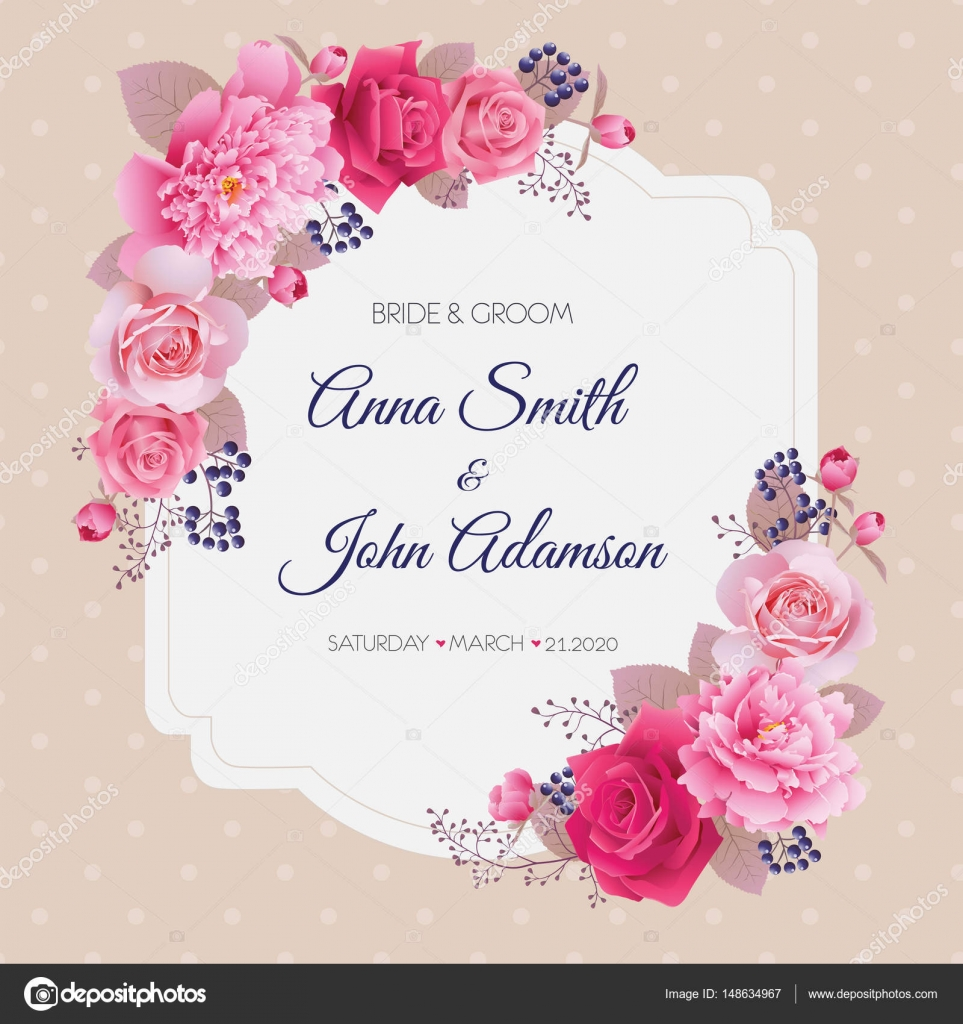 Wedding floral template collection.Wedding invitation, thank you ...