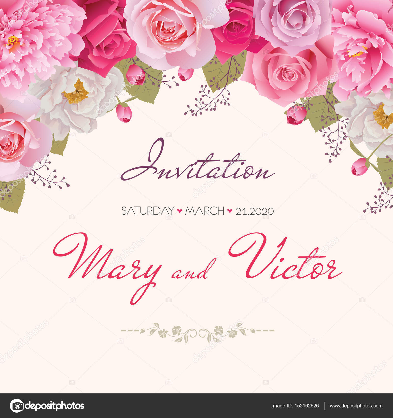 Wedding Invitation Thank You Card Save The Date Cards Eps 10
