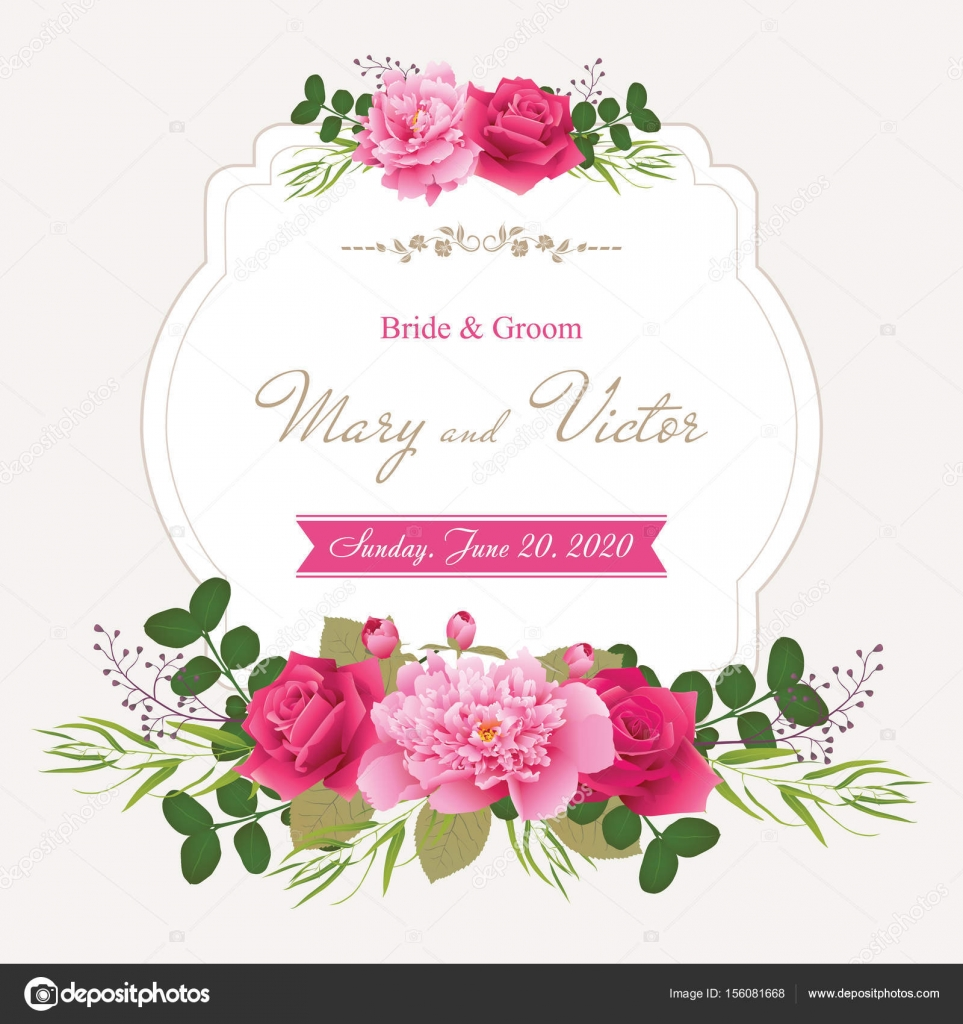 Wedding invitation cards with flower. (Use for Boarding Pass ...
