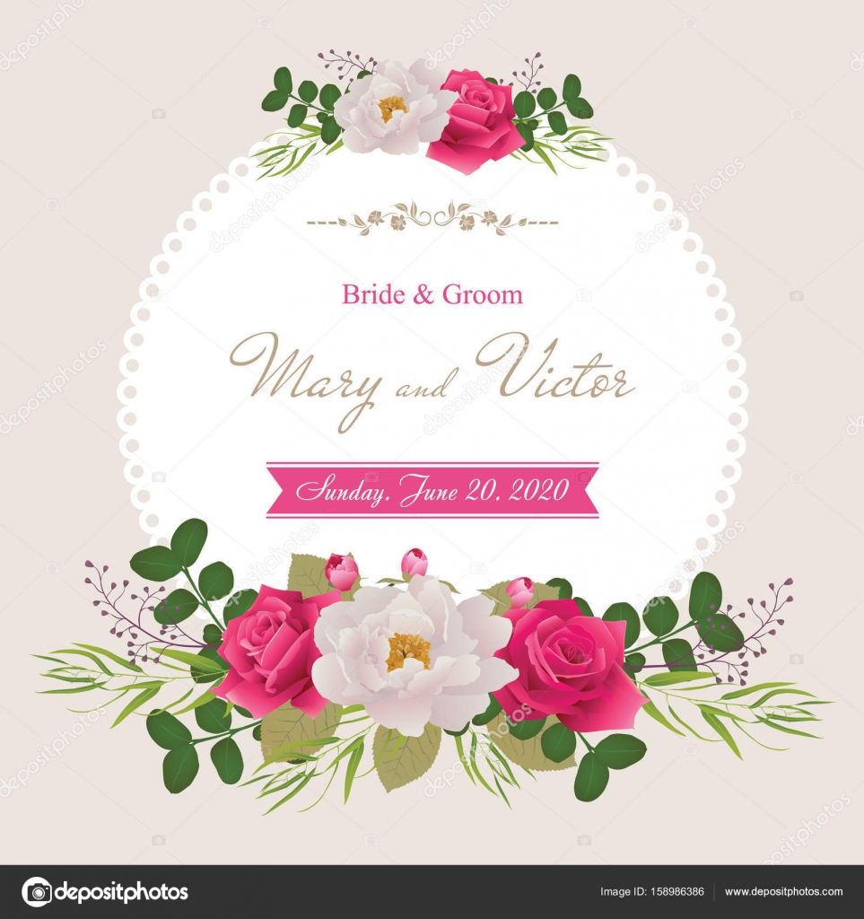 Wedding invitation cards with flower.Template collection. (Use for ...