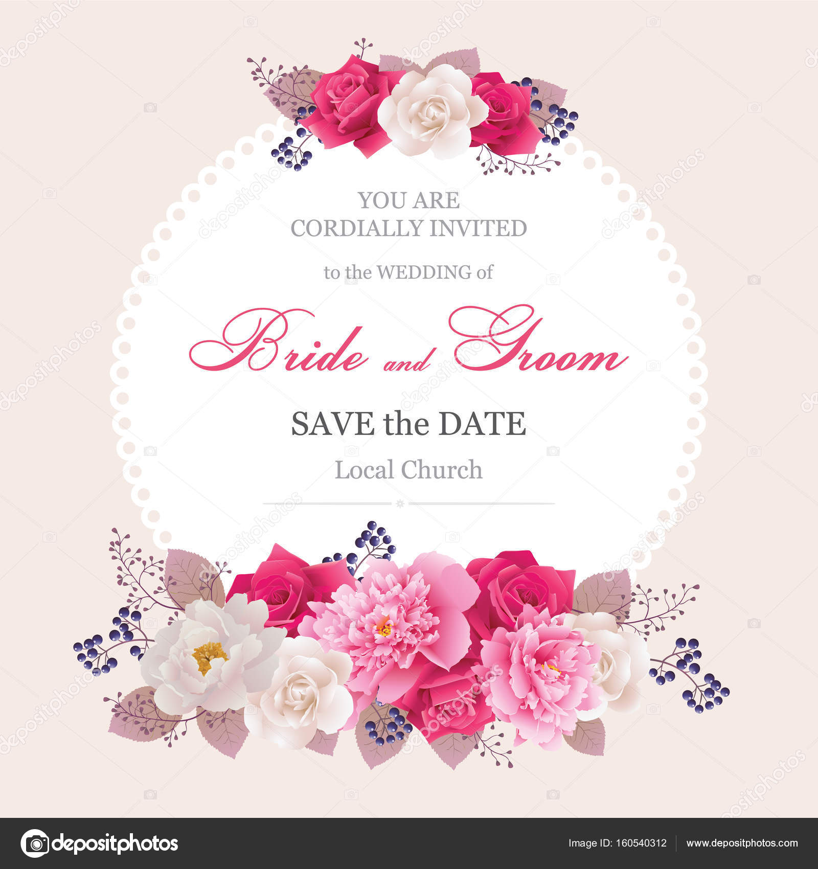 Wedding invitation cards with flower.Beautiful white and pink ...