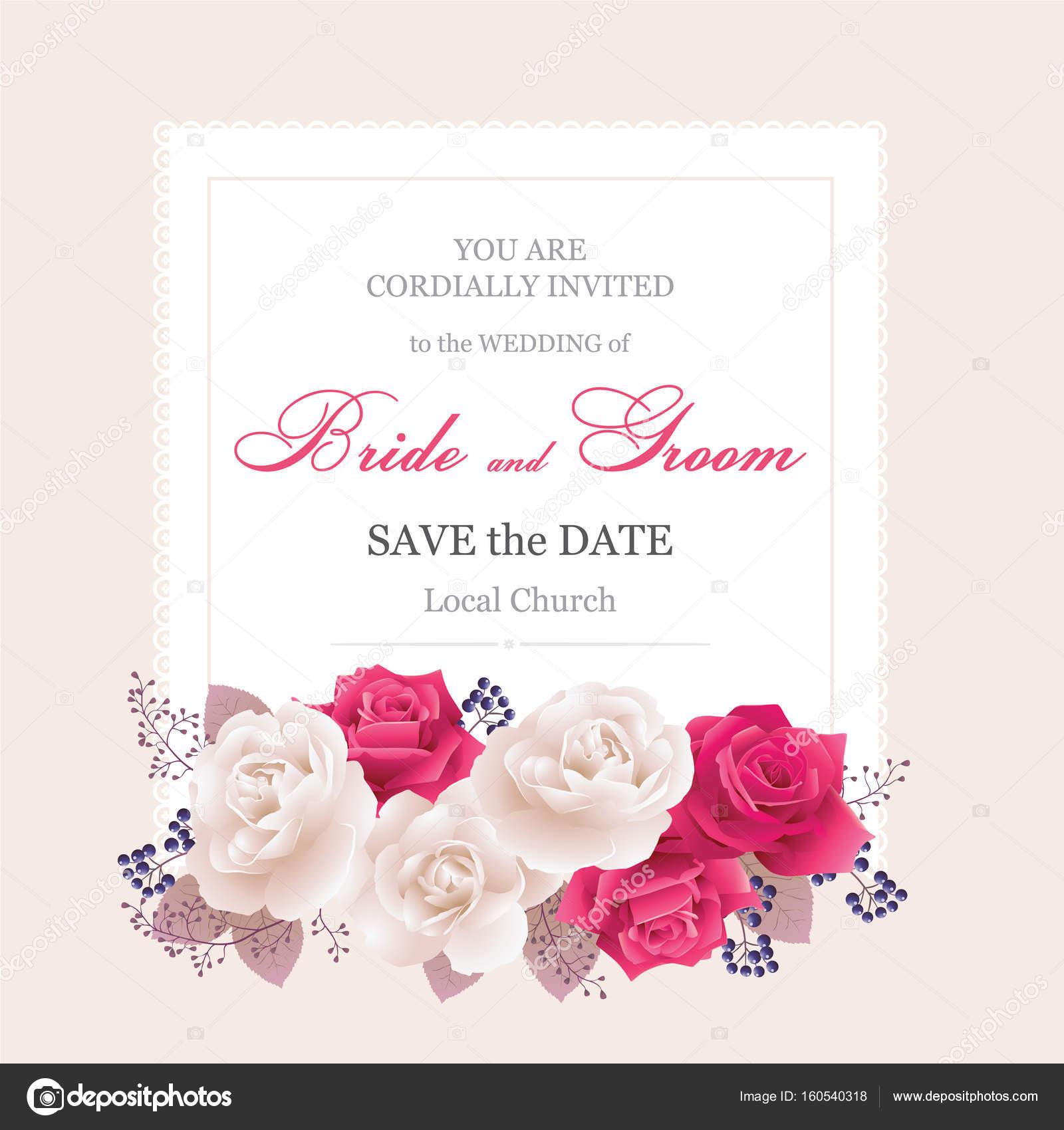 Tarjetas De Invitación De Boda Con Rosas Hermosas Rosas Blancas Y