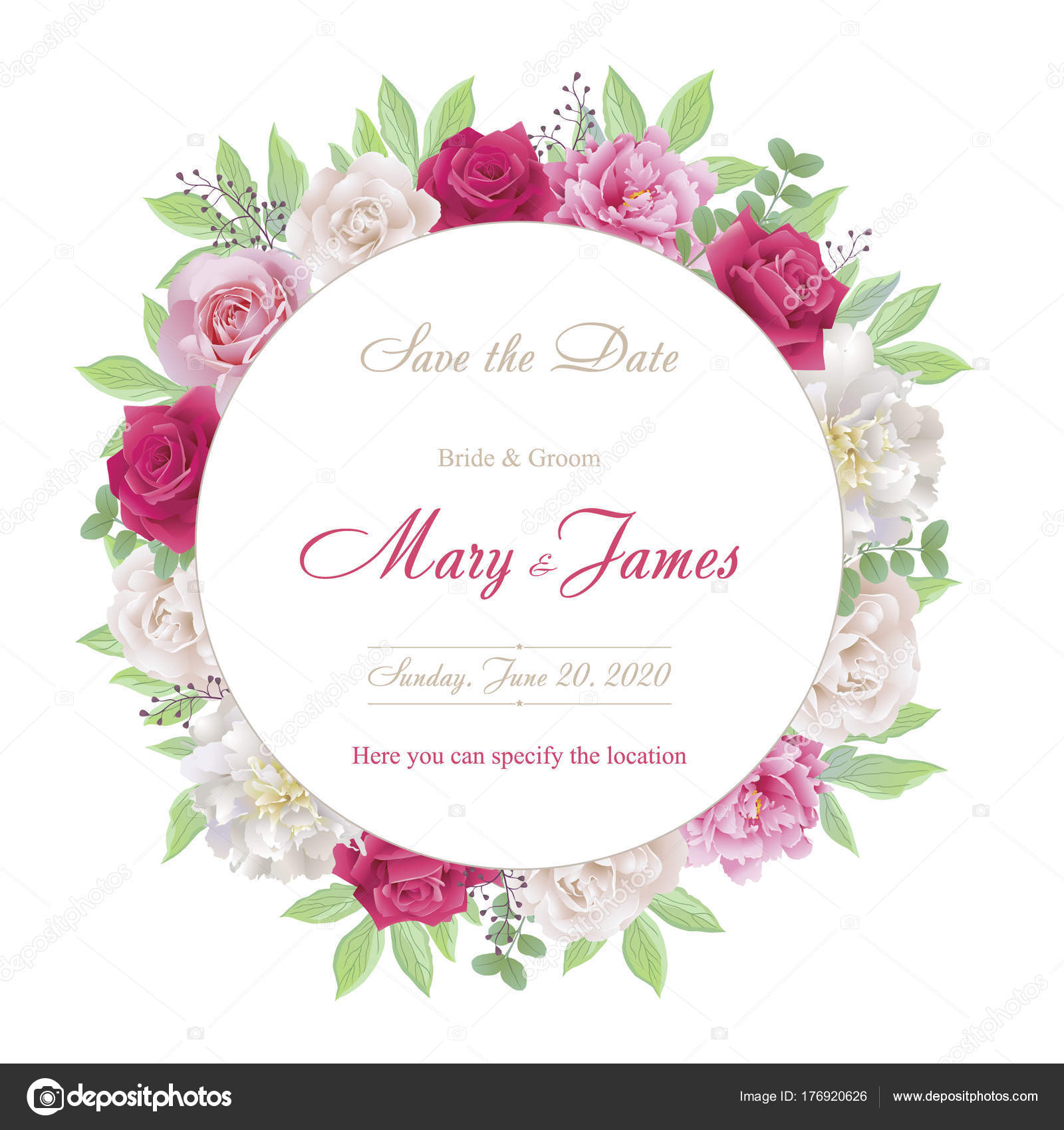 Wedding invitation cards with roses and peonies.Beautiful white and ...