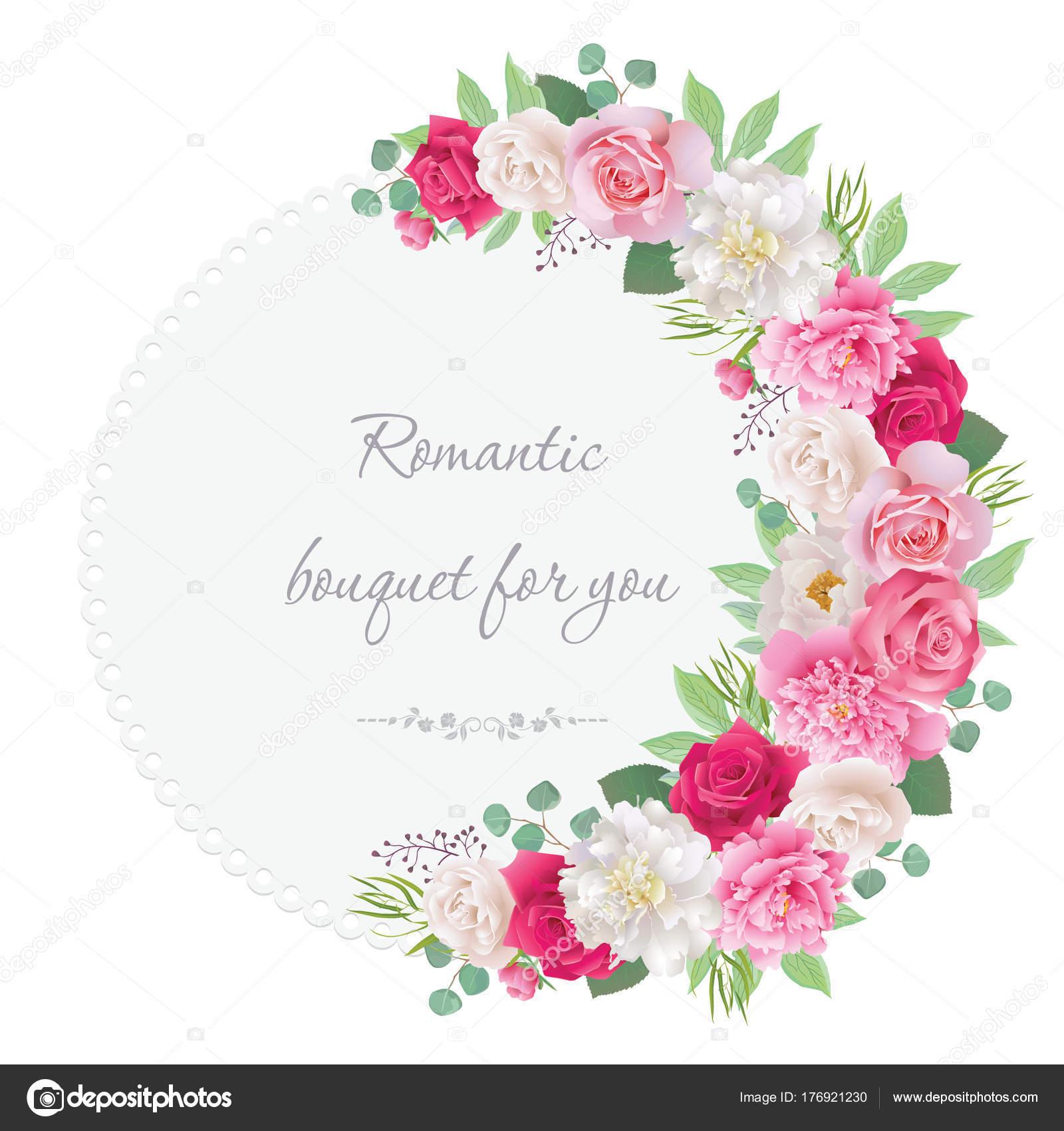 Romantische Halbkreis Girlande Rahmen Mit Roten Und Rosa Rosen, Weißen Und  Rosa Pfingstrosen. Als Einladung Werden Für Hochzeit, Geburtstag, ...