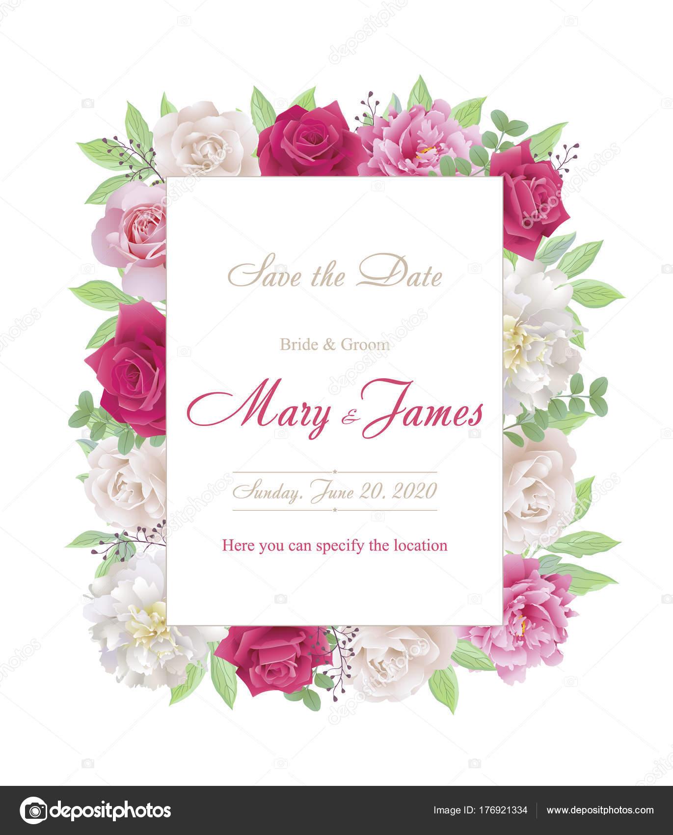 Tarjetas De Invitación De Boda Con Rosas Y Peonías Hermosas Rosas