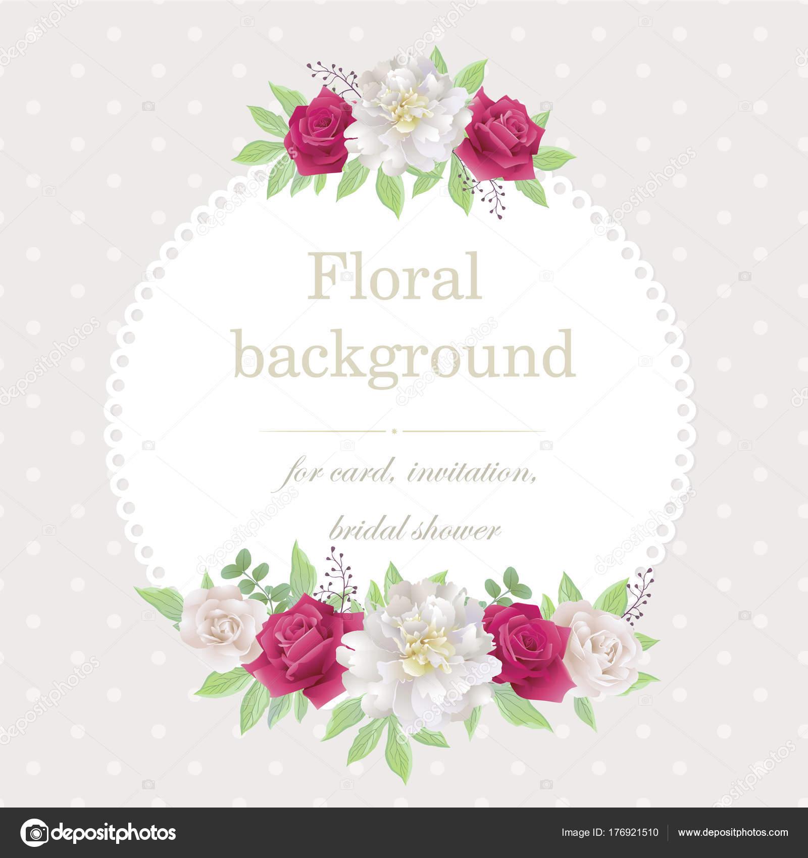 Invitación Romántica Con Rosas Y Peonías Hermosas Rosas Blancas Y
