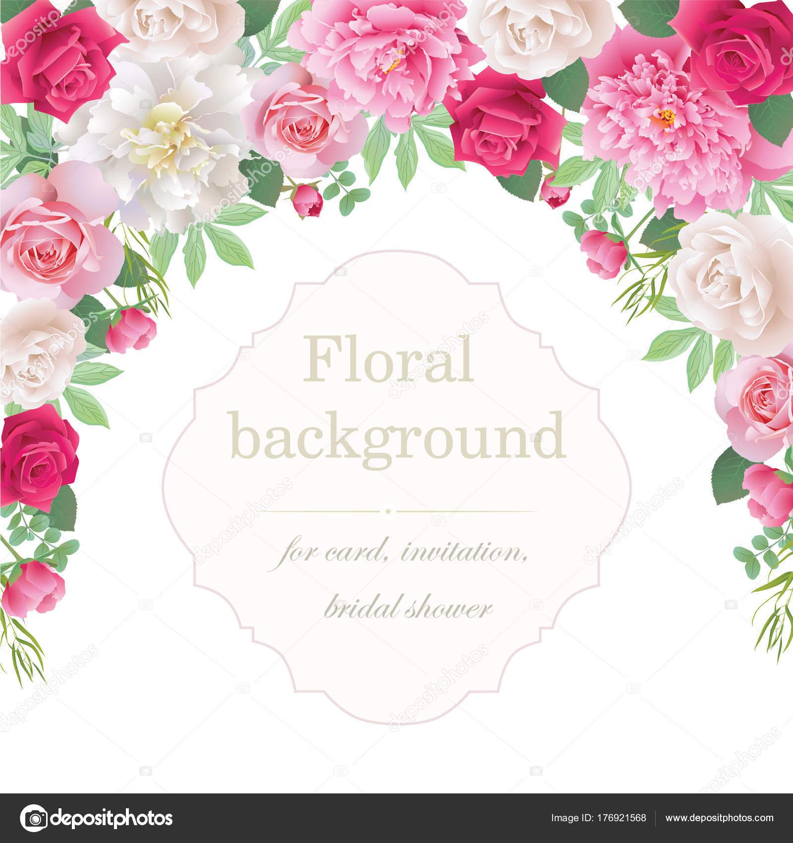 Romantische Einladung Mit Rosen Und Pfingstrosen Schonen Weissen Und