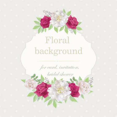 Romantic invitation with roses and peonies.Beautiful white and red roses, pink and white peonies. (Use for Boarding Pass, wedding invitations, Valentine's day, thank you card.) Vector illustration. EPS 10