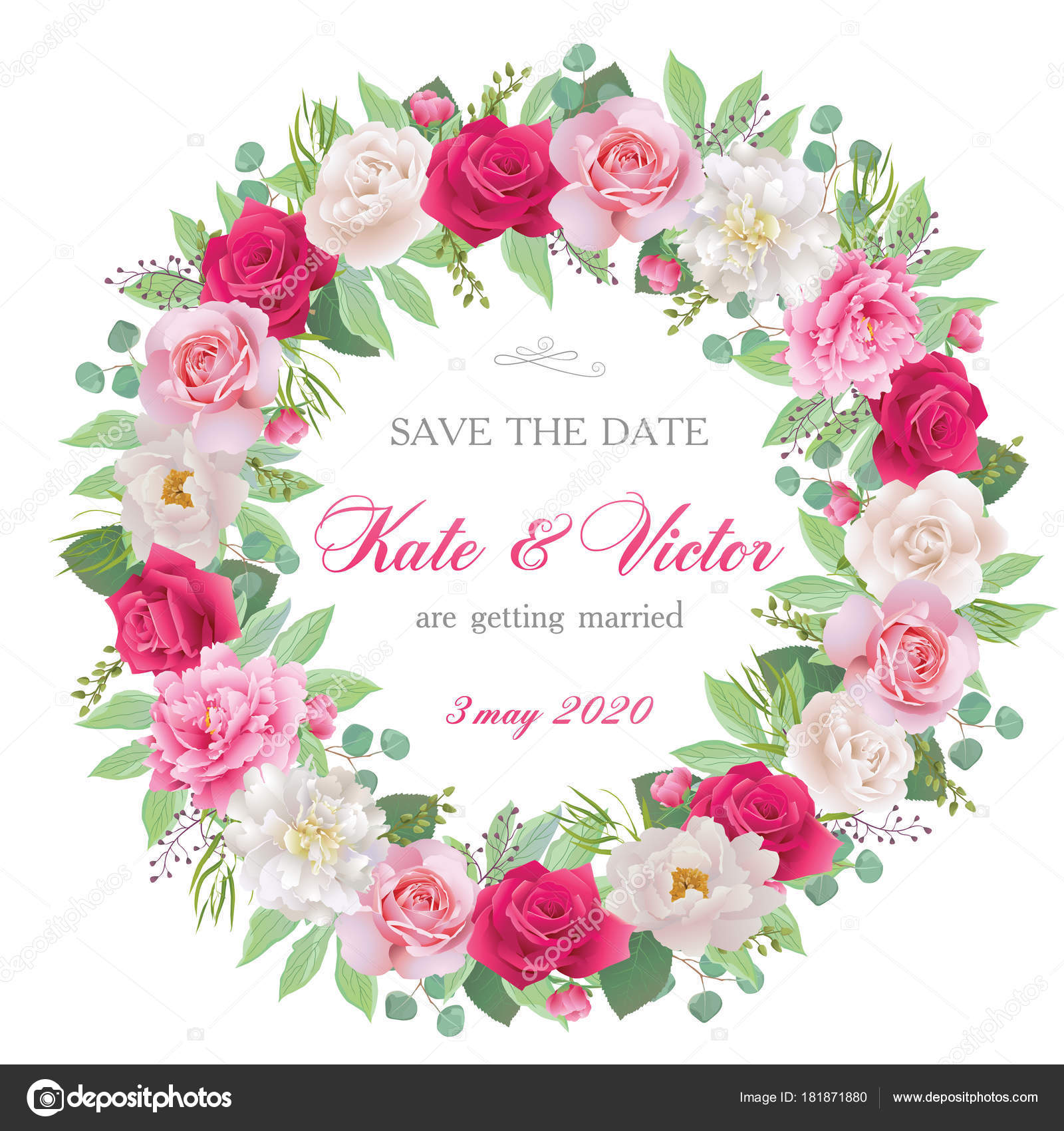 Vector wedding invitation with white, pink and red roses and pink ...