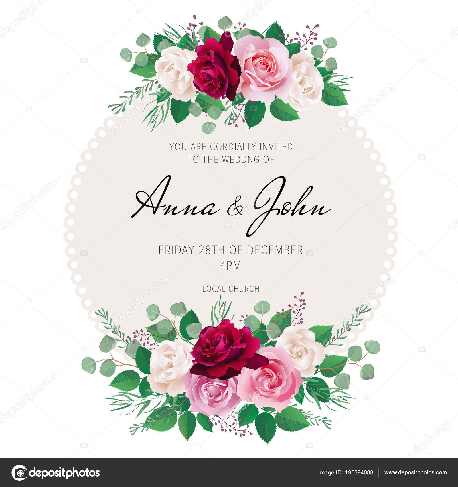 Wedding Floral Template Collection Wedding Invitation Thank You Card ...
