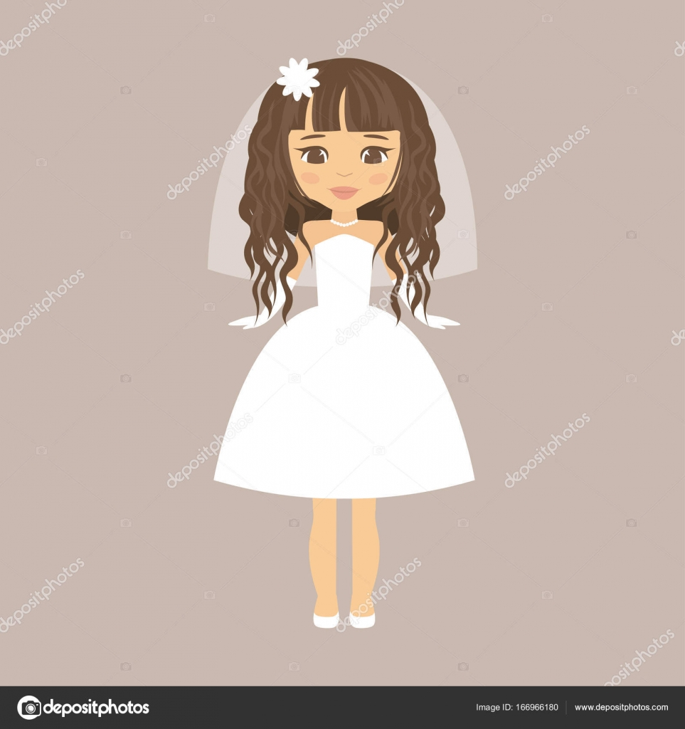 Cartoon Bride With Curly Hair In A Short Dress Stock Vector
