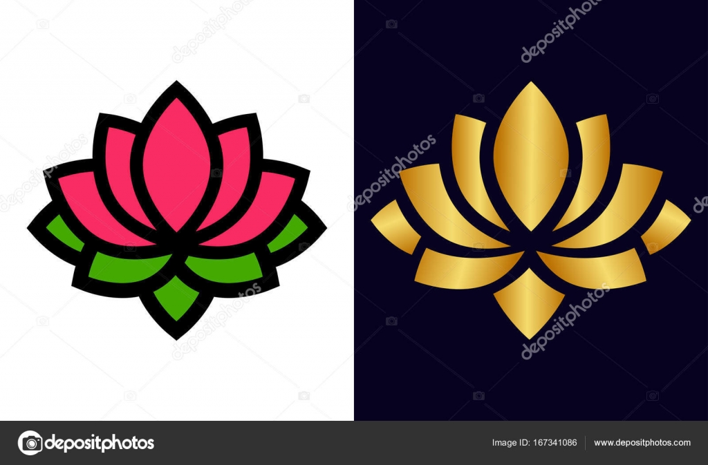 Cartoon Lotus And Lotus Flower Gold Set Stock Vector