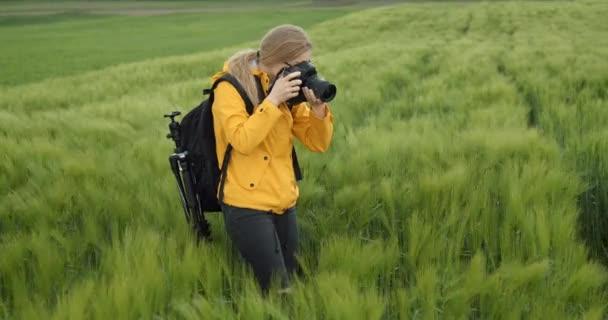 Attraktive Frau fotografiert grünes Weizenfeld