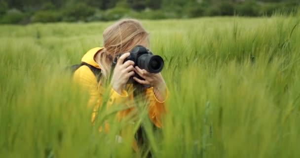 Starší žena fotí zelené pšeničné pole