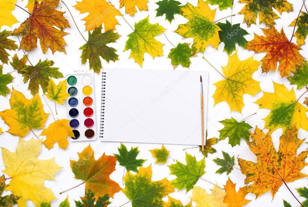 Leeres Album zum Malen mit Farben und bunten Herbstblättern ...