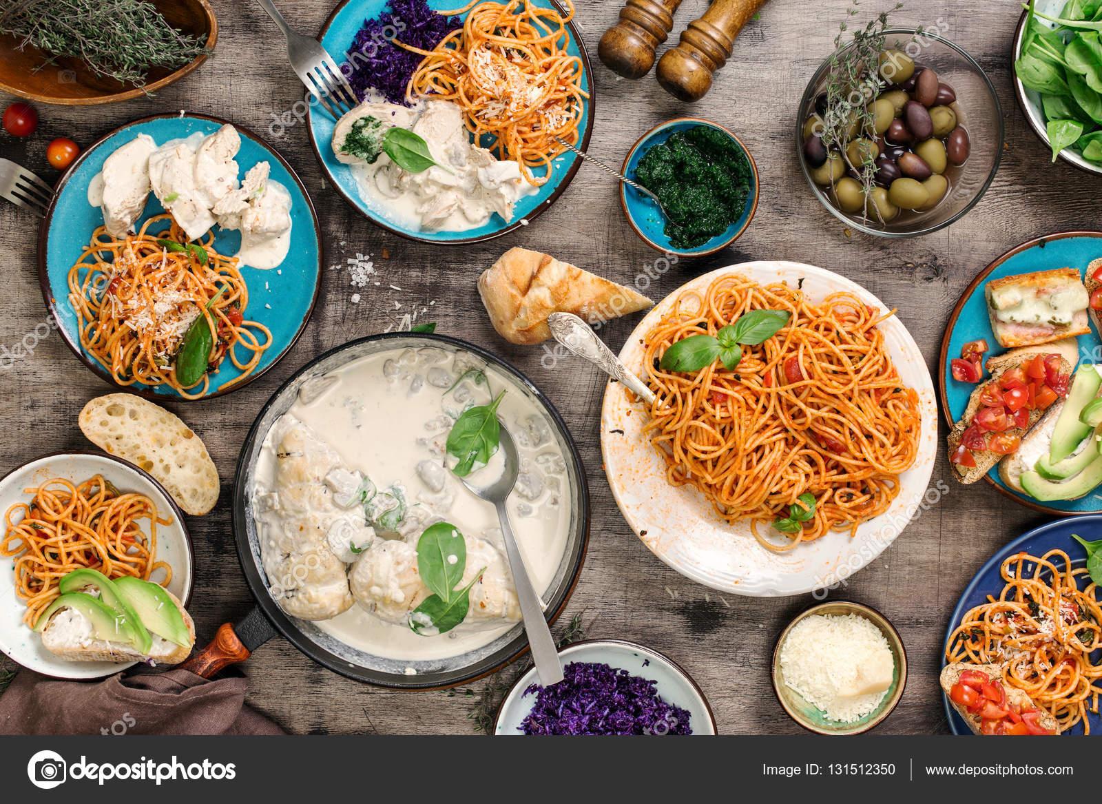 traditional italian food table and snacks top view stock photo kucherandrey 131512350. Black Bedroom Furniture Sets. Home Design Ideas