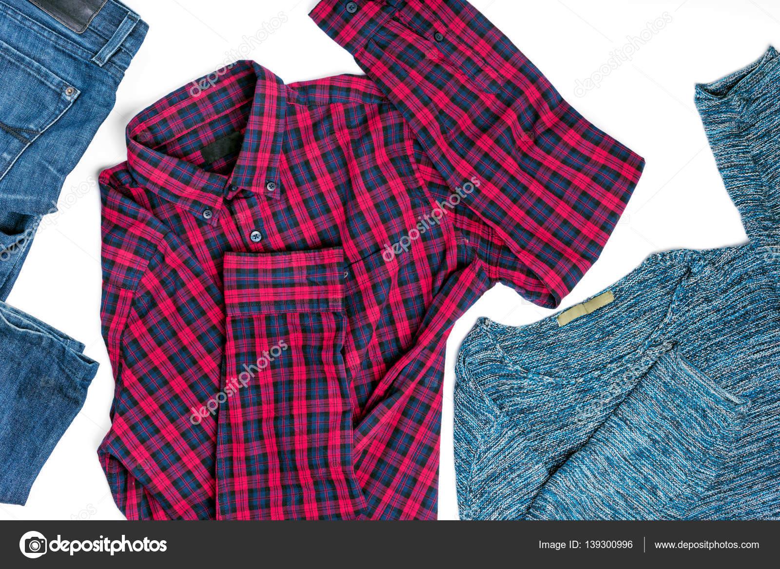180dc9611356 Επίπεδη lay mens ρούχα κολάζ με πουκάμισο