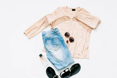 Pink blouse, jeans, sandals