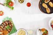 Vegetáriánus vacsora asztal koncepció