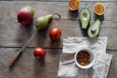 Different fruits on wooden table, top view. Healthy food concept