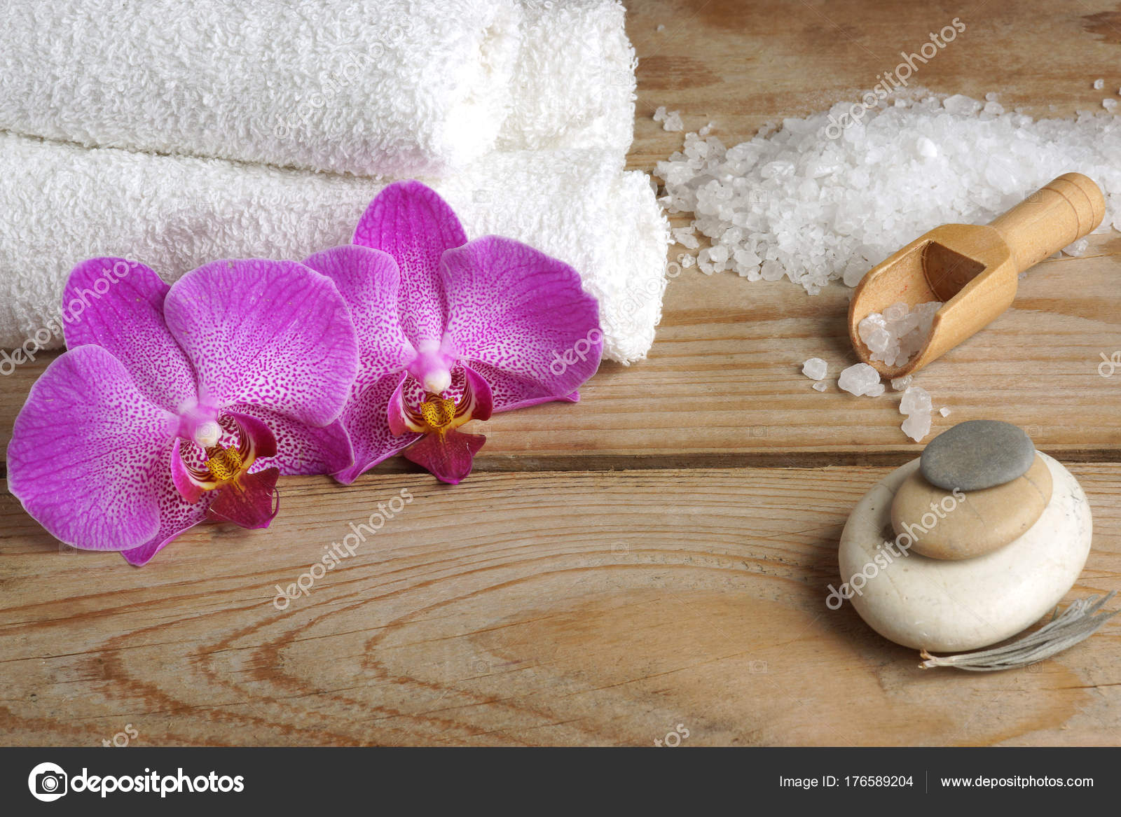 Salle De Bain Minerale ~ Spa Sertie De Sel Blanc Pour Salle De Bain Fleurs D Orchid E Et De