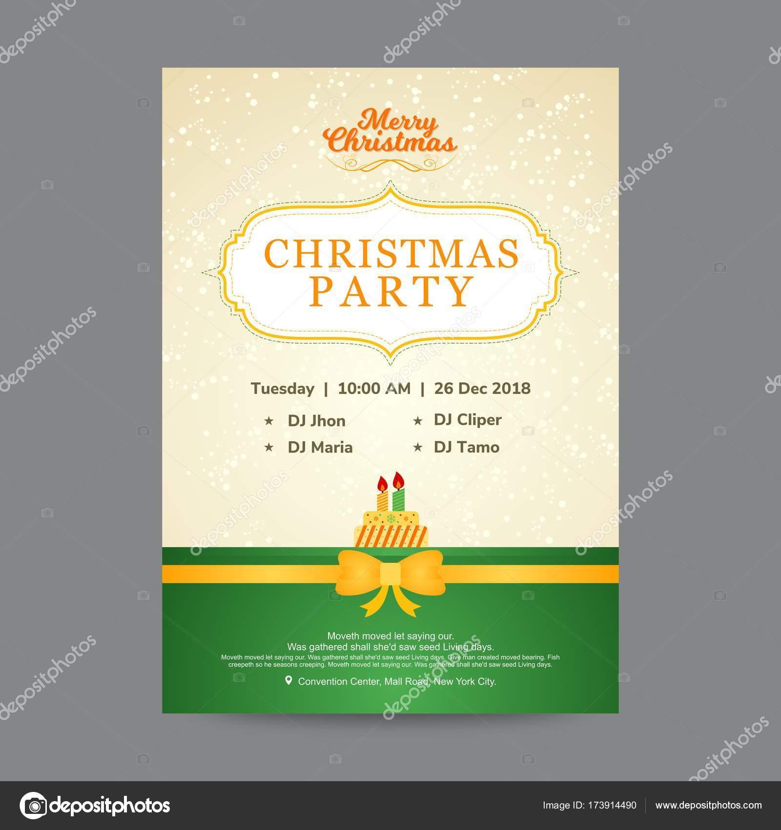 Beige Und Grün Christmas Party Einladungskarte U2014 Stockvektor