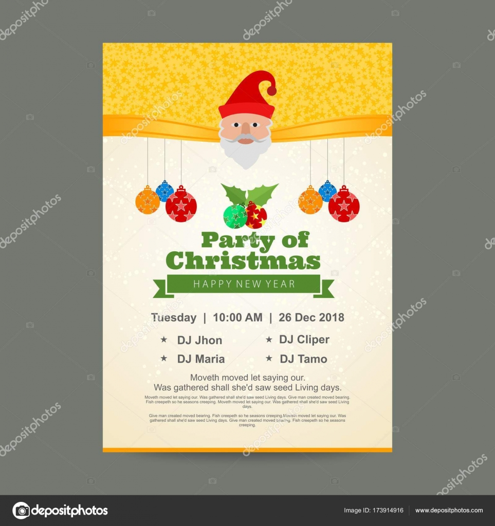 Christmas party invitation card with golden draping — Stock Vector ...